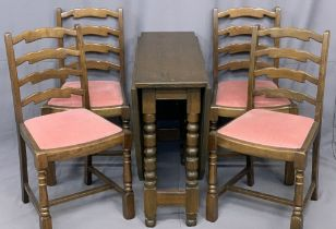 YOUNGER FURNITURE - gate leg dining table and four ladderback chairs, 74cms H, 91cms W, 152cms D