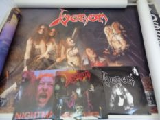 VENOM HEAVY ROCK BAND 45RPM SINGLES & POSTERS - 3 plus 3, along with three other posters, mixed