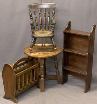 VINTAGE & LATER FURNITURE PARCEL, 4 ITEMS - a child's oak farmhouse armchair, 56.5cms H, 31cms W,