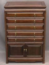 CHINESE HARDWOOD COLLECTOR'S CHEST of five baize line drawers over twin lower cupboard doors, 91.