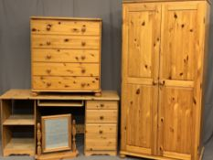 MODERN PINE BEDROOM FURNITURE - two door wardrobe, 183cms H, 93cms W, 61cms D, five drawer chest,