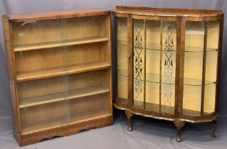 VINTAGE WALNUT CHINA DISPLAY CABINET and a glass fronted teak bookcase, 114cms H, 102cms W, 31cms