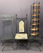 ULTRA MODERN METALWORK FURNITURE, 5 ITEMS - a high back hall chair, 131cms H, 46.5cms W, 46cms