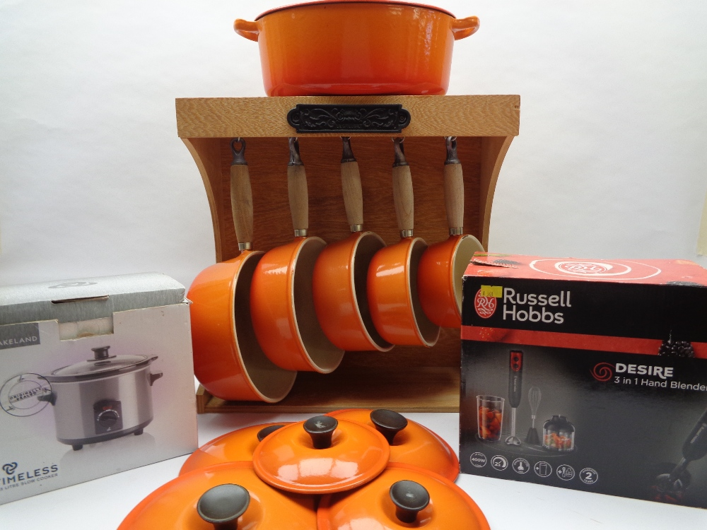 LE CREUSET CAST IRON PAN SET & ASSOCIATED HANGING RACK and two further boxed electric kitchen