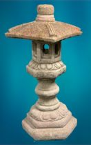GARDEN STONEWARE - reconstituted ornamental pagoda type ornament, four section, 91cms H