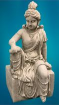 GARDEN STONEWARE - reconstituted statuary depicting an Indian deity seated upon a rectangular block,