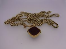 9CT GOLD SWIVEL AGATE FOB on a 76cms L belcher link necklace, 33.4grms gross, 29.1grms necklace