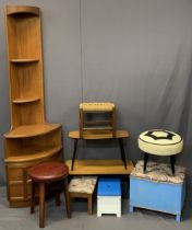 NATHAN & OTHER MID-CENTURY FURNITURE PARCEL - a teak corner stand, 194cms H, 62cms W, five various