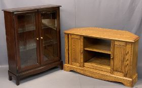 STAG MINSTREL BOOKCASE CUPBOARD - 101cms H, 81cms W, 50cms D and a Jaycee oak entertainment stand