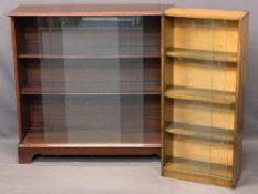 BOOKCASES (2) - with sliding glass doors, 90cms H, 95cms W, 30cms D and 93.5cms H, 42cms W, 17cms D
