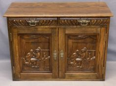 REPRODUCTION OAK SIDEBOARD - neatly proportioned and carved continental style with interior Inn