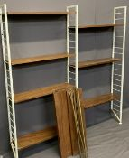 LADDERAX STYLE SHELVING SYSTEM - 12 shelves with bar supports and three white painted uprights,