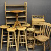 LIGHTWOOD FURNITURE PARCEL, 11 PIECES - five bar stools, 74cms H, 33cms diameter the largest, wine