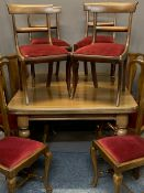 VICTORIAN MAHOGANY WIND-OUT DINING TABLE & 10 CHAIRS including six splatback and four sabre leg on
