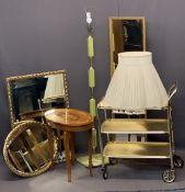 ONYX STANDARD LAMP & SHADE, an oval Italian music box, a gilt three shelf trolley and three gilt