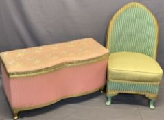 LLOYD LOOM STYLE BEDROOM FURNITURE ITEMS (2) - open chair with upholstered seat in green and gilt