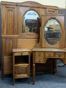 FRENCH ANTIQUE STYLE BEDROOM SUITE - triple wardrobe with central mirrored door, 206cms H, 66cms