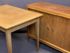 RUSSELL OF BROADWAY MID-CENTURY LIGHTWOOD SIDEBOARD and matching extending dining table, the