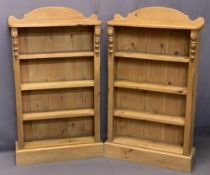 REPRODUCTION PINE BOOKSHELVES, A PAIR - railback with turned front detail and four shelves on a