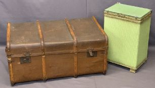 STEAMER BANDED TRUNK, 40cms H, 84cms W, 54cms D and a Loom linen basket, 54cms H, 36cms W, 26cms D