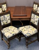 VICTORIAN MAHOGANY WIND OUT DINING TABLE & SIX LATER OAK CHAIRS by Arthur Stevens Taunton - the