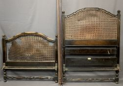 HEAL & SON SINGLE BED HEAD & FOOT BOARD - with cane back (for restoration), irons included, 144cms