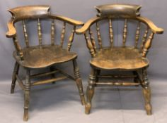 VINTAGE SMOKERS BOW ARMCHAIRS (2) - swept arms and curved back on turned spindle supports with H