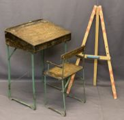 TRIANG CHILD'S DESK & MATCHING CHAIR with a small artist's easel, 71cms H, 49cms W, 40cms D the