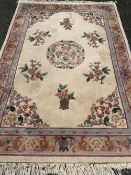 CHINESE WASHED WOOLEN RUG, 250 x 174cms