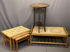 MID-CENTURY STYLE COFFEE & OCCASIONAL TABLES - tiled top Long-John with base rack, 1.5m H x 96.