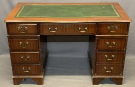 REPRODUCTION MAHOGANY TWIN PEDESTAL DESK - green leather gilt tooled skiver having three frieze