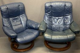 LADY'S & GENT'S STRESSLESS SWIVEL ARMCHAIRS IN BLUE, 100cm heights, 88 and 78cm widths, 52 and