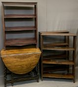 THREE VINTAGE OPEN BOOKSHELVES and an oak barley twist gate-leg dining table, 110 and 108cm heights,