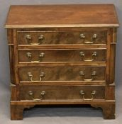 MINIATURE REPRODUCTION MAHOGANY FOUR DRAWER CHEST - with haberdashery/sewing contents, 52.5cms H,