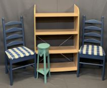 MIXED VINTAGE & LATER FURNITURE PARCEL, 6 PIECES - modern bookshelf with four shelves, 122cms H,