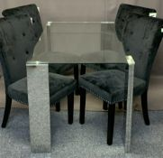 DINING TABLE & FOUR CHAIRS - stylish glass topped table with four pedestals, 77cms H, 80cms W, and a