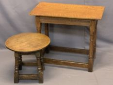ANTIQUE TABLES - oak rectangular peg jointed side table, 64cms H, 76cms W, 42.5cms D and a similar