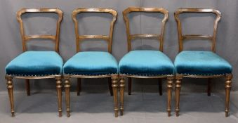 VICTORIAN WALNUT SALON CHAIRS (4) - having carved detail to the cross rails and stuff over