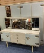 FABRIC FRONTED, MID-CENTURY BEDROOM SUITE - 'Julieta', triple wardrobe, 174cms H, 117cms W, 55cms D,