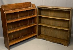 VINTAGE OPEN BOOKSHELVES (2) including a four shelf stained pine example, 104cms H, 89cms W, 23cms D