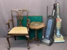 MIXED FURNITURE & HOUSEHOLD GOODS PARCEL - a reproduction mahogany Chippendale style armchair, baize