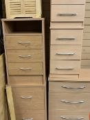 MODERN LIGHTWOOD FURNITURE - with two matching three drawer chests with matching two bedside