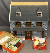 DOLLS/MINIATURE COLLECTOR'S HOUSE - slate style dressed front and roof, the lower section as a