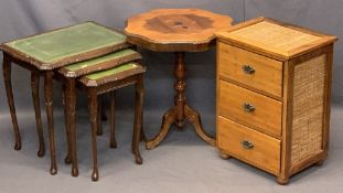 OCCASIONAL FURNITURE, A PARCEL - leather tooled top nest of three tables, 53cms H, 55cms W, 42cms D,