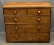 VICTORIAN MAHOGANY CHEST - two short over three long drawers with turned wooden knobs, 93cms H,