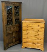 MODERN PINE CHEST OF 6 LONG DRAWERS, 110cms H, 84cms W, 46cms D and an antique style floor