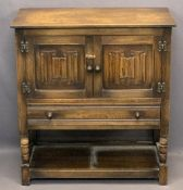 HUTCH CUPBOARD - with linen fold twin doors above a single drawer and base shelf, 86cms H, 79cms W,