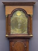 CIRCA 1840 OAK LONGCASE CLOCK with arched top Bastal brass dialwith Gowland Sunderland name plaque,
