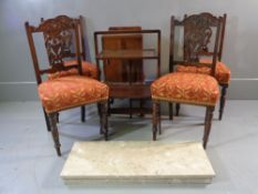 ANTIQUE FURNITURE ASSORTMENT - set of four Edwardian drawing room chairs, walnut effect night stand,