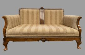ART DECO STYLE SOFA in walnut with carved shell detail on pad feet, 77cms H, 140cms W, 77cms D
